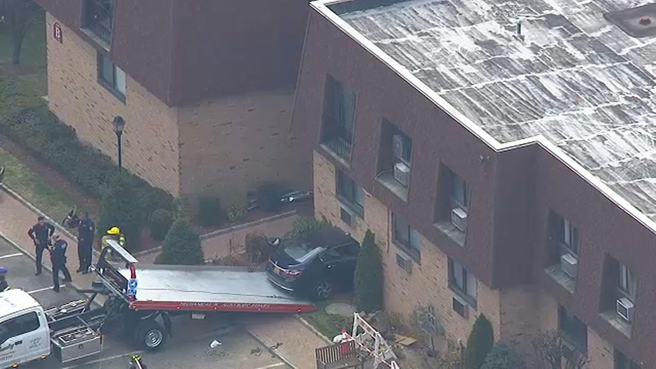 An elderly couples blue Honda Accord slams into an apartment building in Greenburgh.