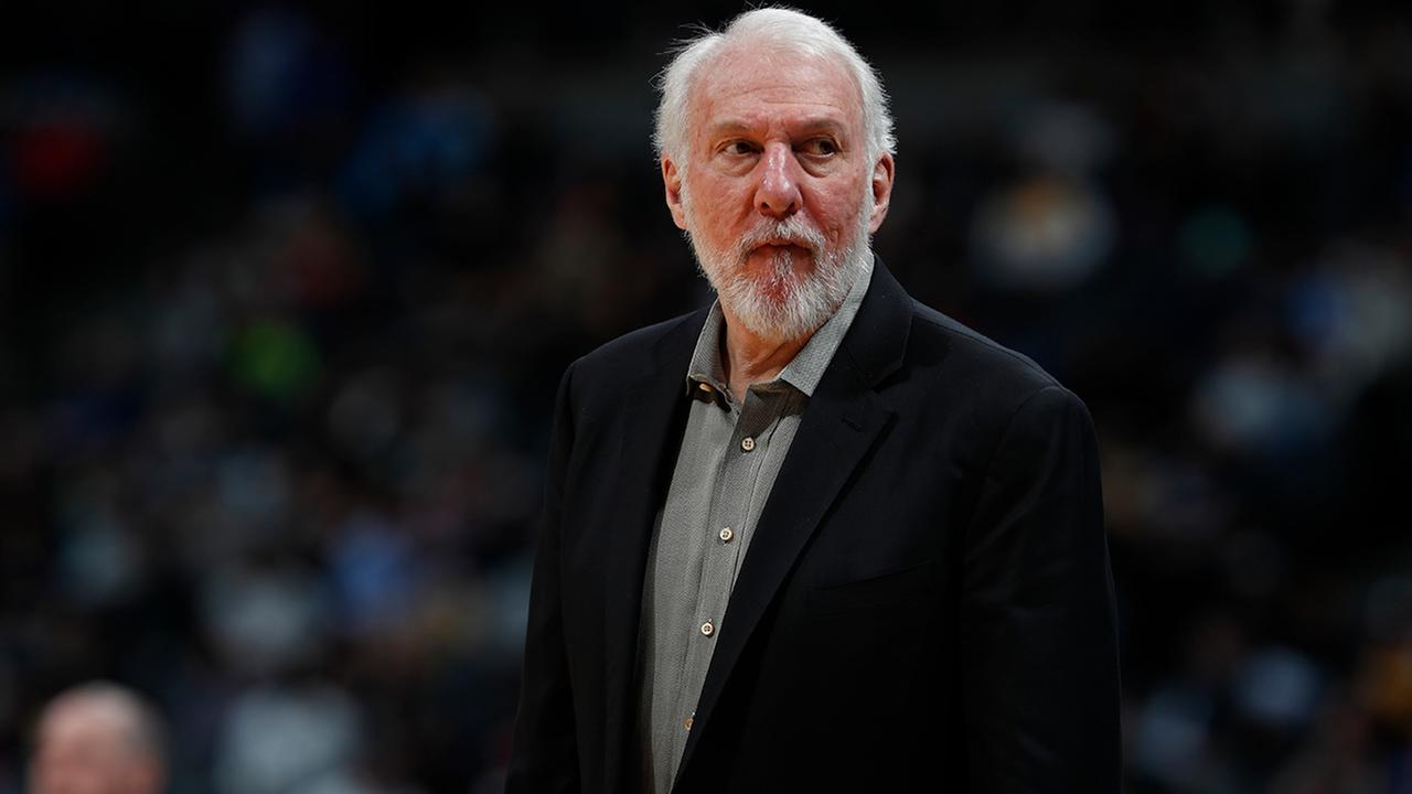 San Antonio Spurs head coach Gregg Popovich in the second half of an NBA basketball game Tuesday, Feb. 13, 2018, in Denver. The Nuggets won 117-109. (AP Photo/David Zalubowski)