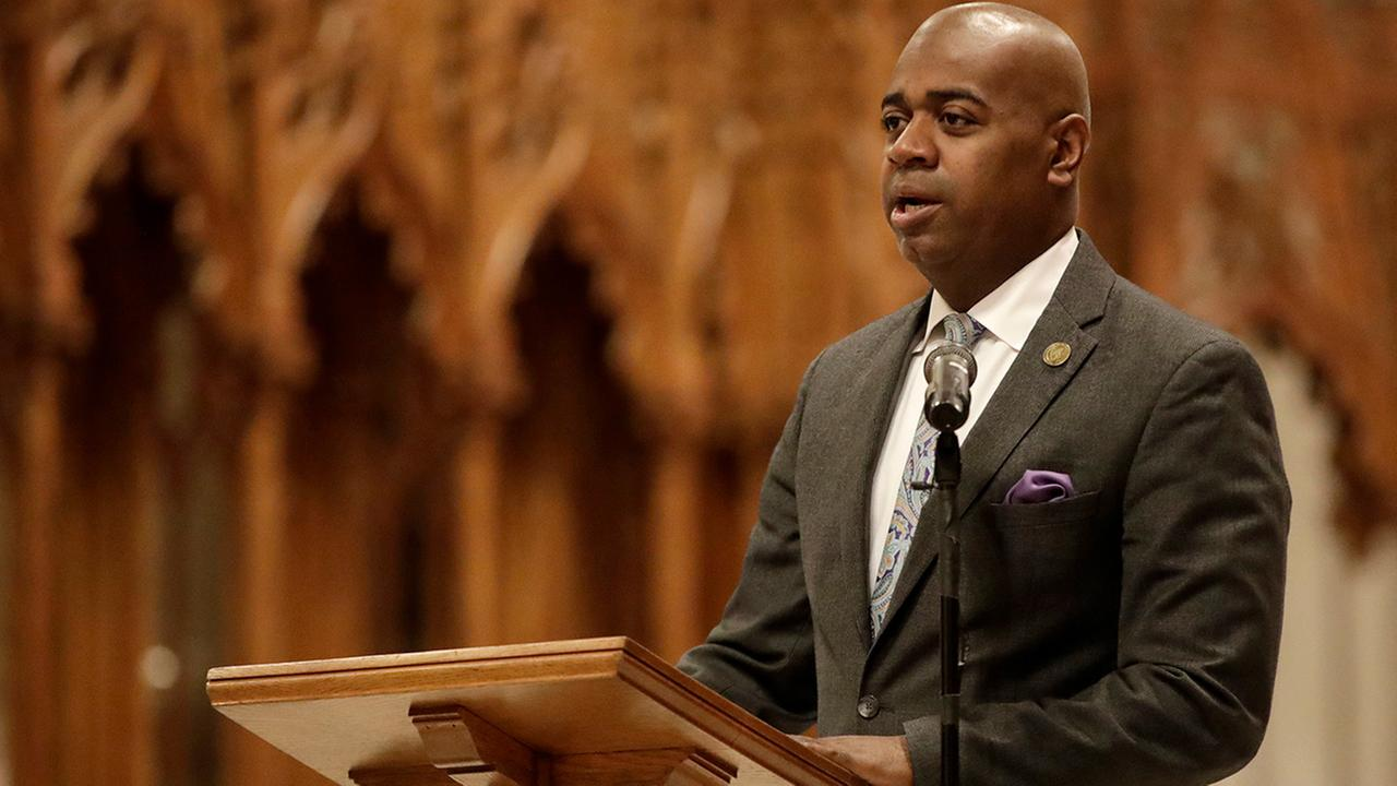 Newark Mayor Ras Baraka speaks during a prayer service for New Jersey Gov.-elect Phil Murphy at the Cathedral Basilica of the Sacred Heart, Friday, Jan. 12, 2018, in Newark