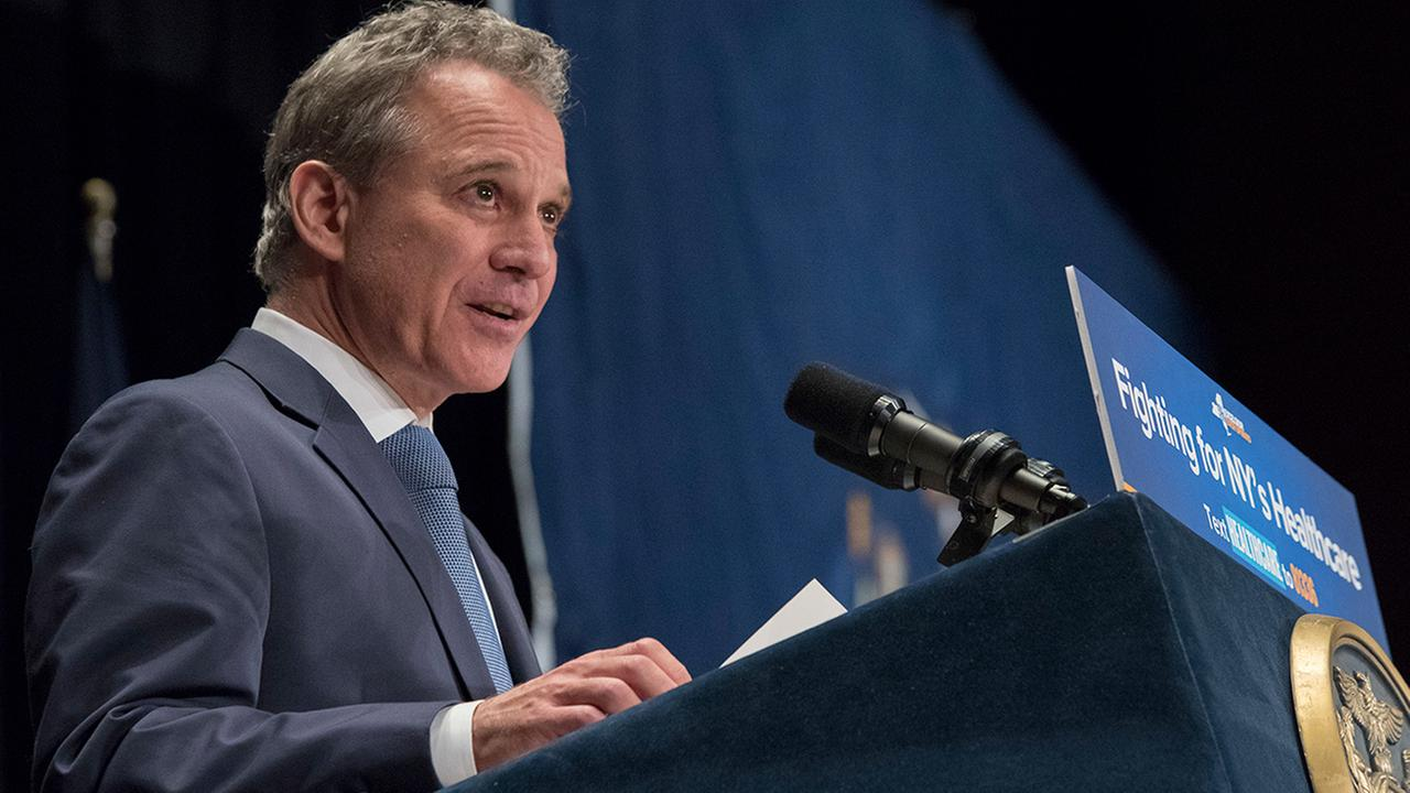 New York Attorney General Eric Schneiderman speaks during a rally in support of the Affordable Care Act, Monday, July 17, 2017, in New York. (AP Photo/Mary Altaffer)