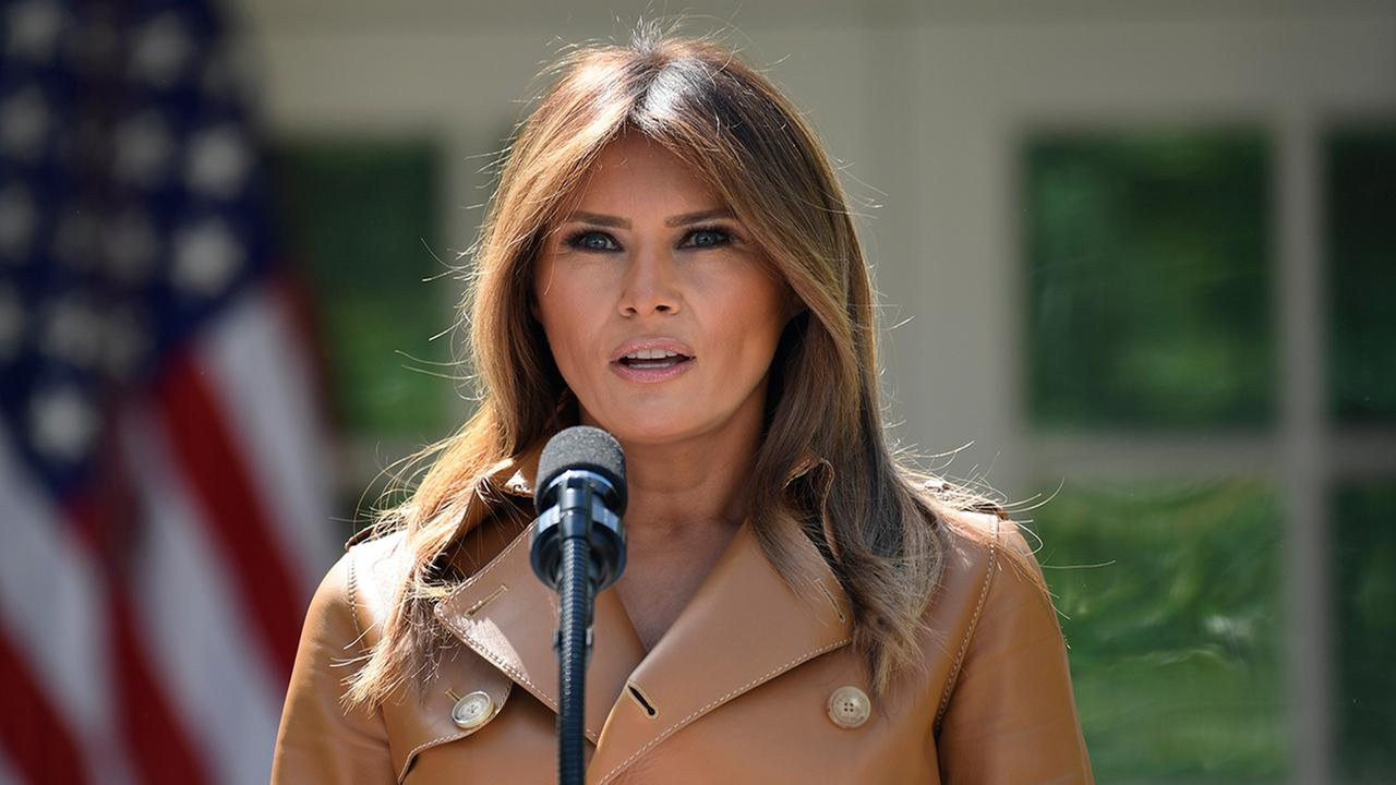 First lady Melania Trump speaks on her initiatives during an event in the Rose Garden of the White House, Monday, May 7, 2018, in Washington. (AP Photo/Susan Walsh)