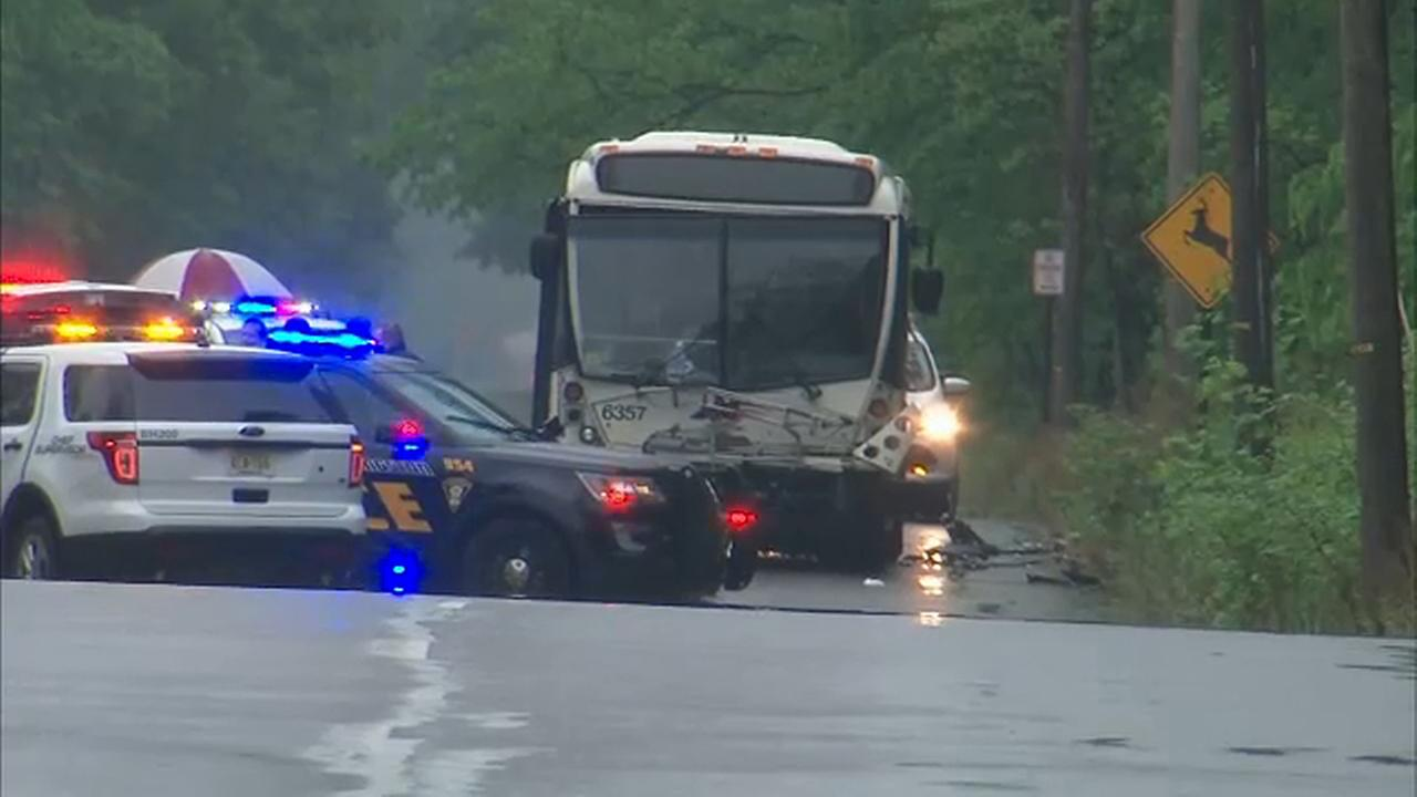 4 people injured after NJ Transit bus collides with car in Livingston