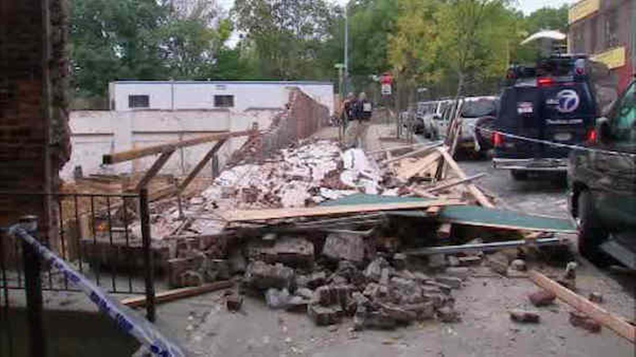 Partial wall collapse at construction site in Brooklyn