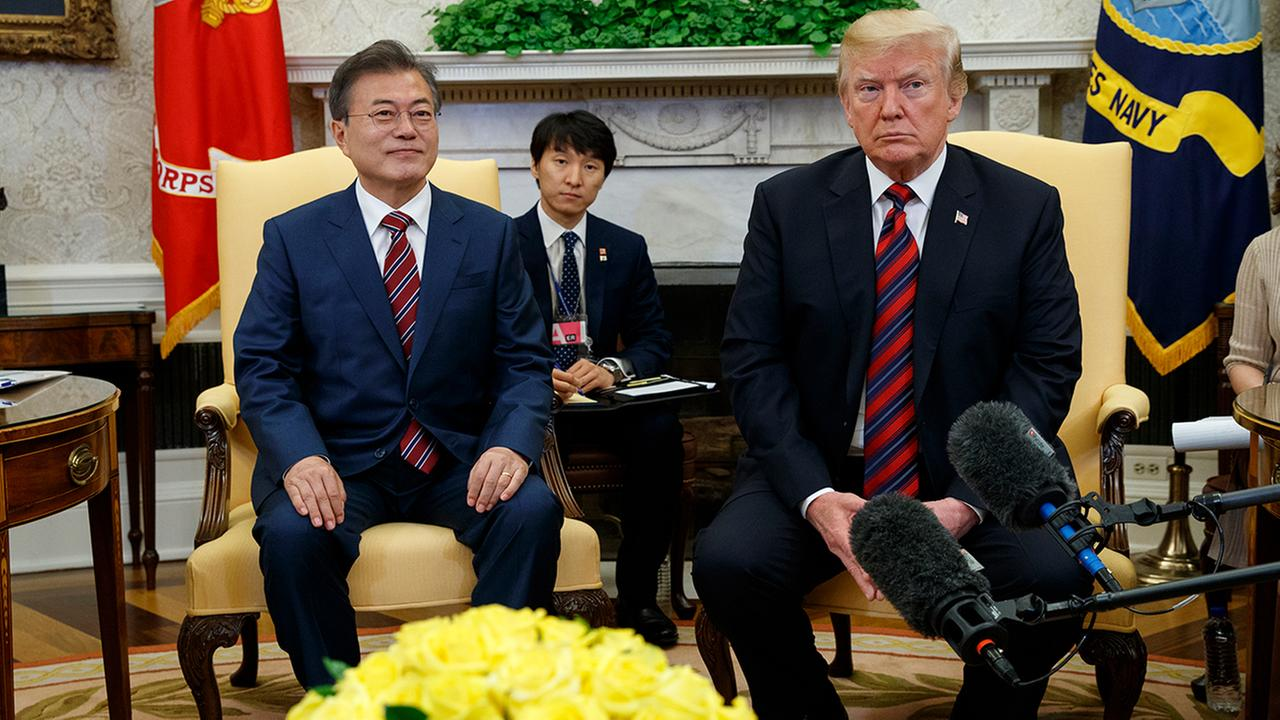 President Donald Trump meets with South Korean President Moon Jae-In in the Oval Office of the White House, Tuesday, May 22, 2018, in Washington. (AP Photo/Evan Vucci)