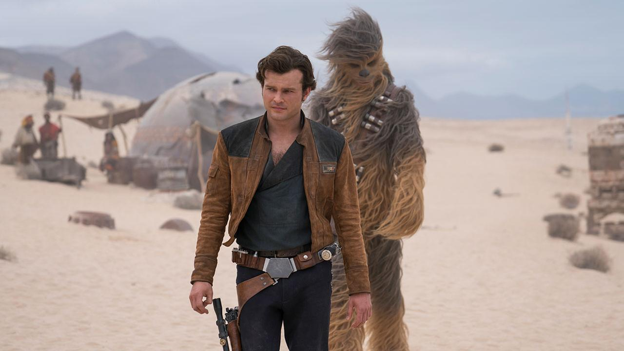 This image released by Lucasfilm shows Alden Ehrenreich and Joonas Suotamo in a scene from Solo: A Star Wars Story.