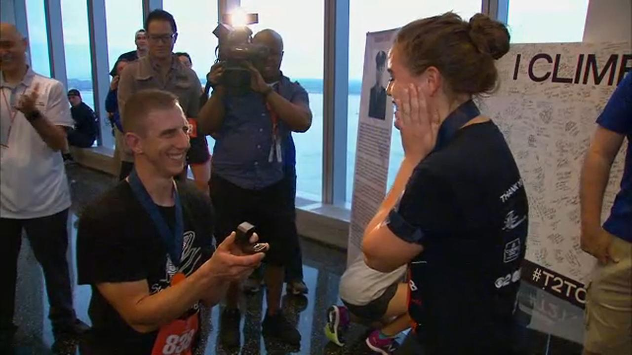 31-year-old Jim Busch proposed to his girlfriend, Lydia, at the Tunnel to Towers climb.