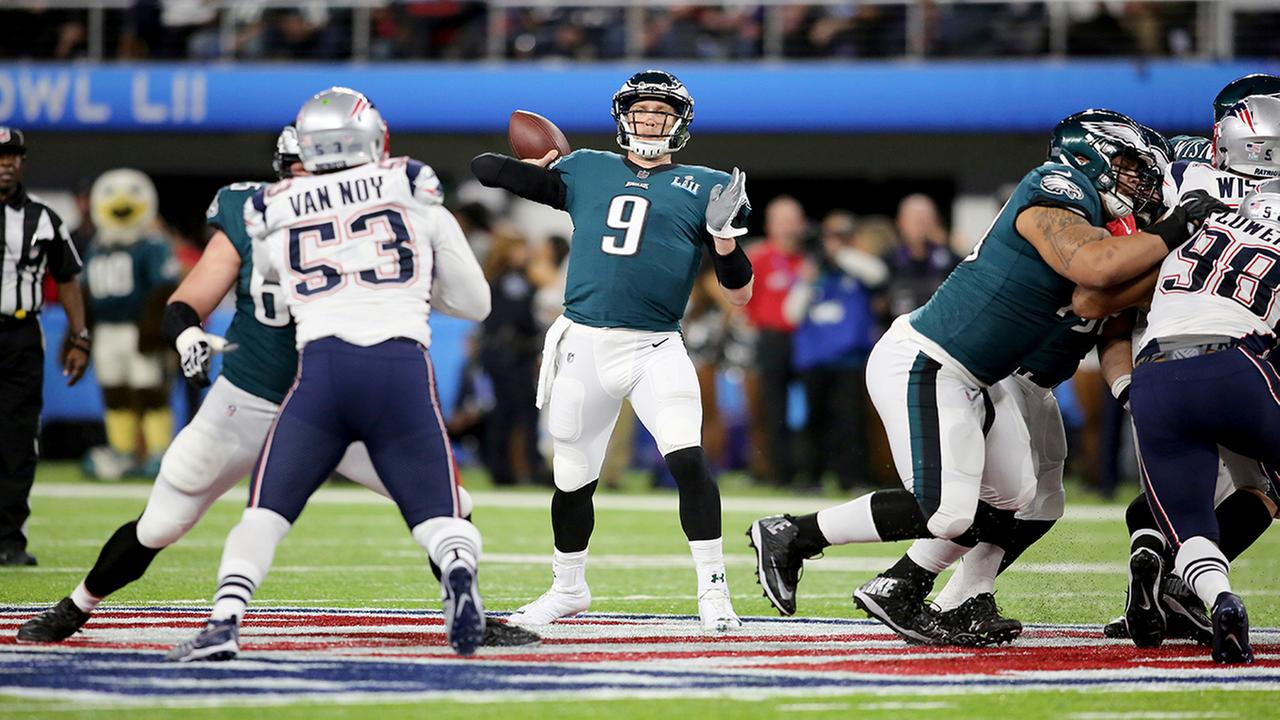 Philadelphia Eagles quarterback Nick Foles in action against the New England Patriots at Super Bowl 52 on Sunday, February 4, 2018 in Minneapolis. Philadelphia won the game 41-33.