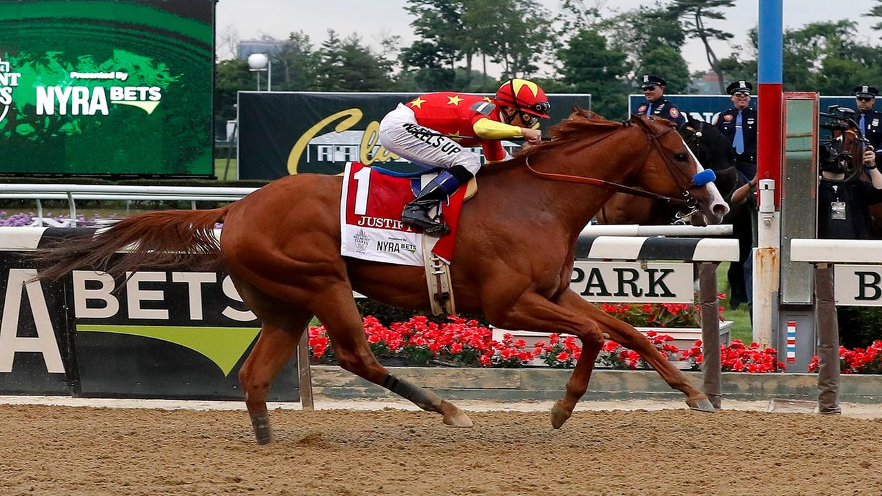 'Justify' wins Triple Crown bid after crossing finish line first at Belmont Stakes