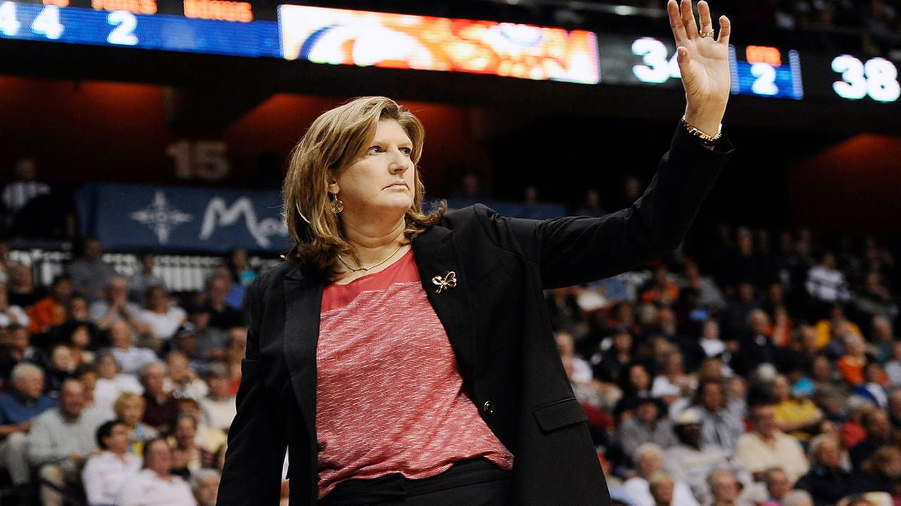 FILE - In this June 5, 2015, file photo, Connecticut Sun head coach Anne Donovan gestures during the first half of a WNBA basketball game. (AP Photo/Jessica Hill, File)