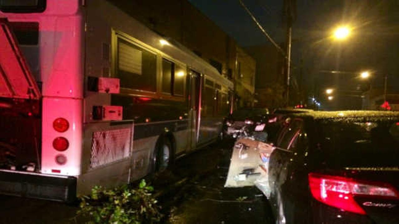 Car and MTA bus crash injuring several people in Red Hook