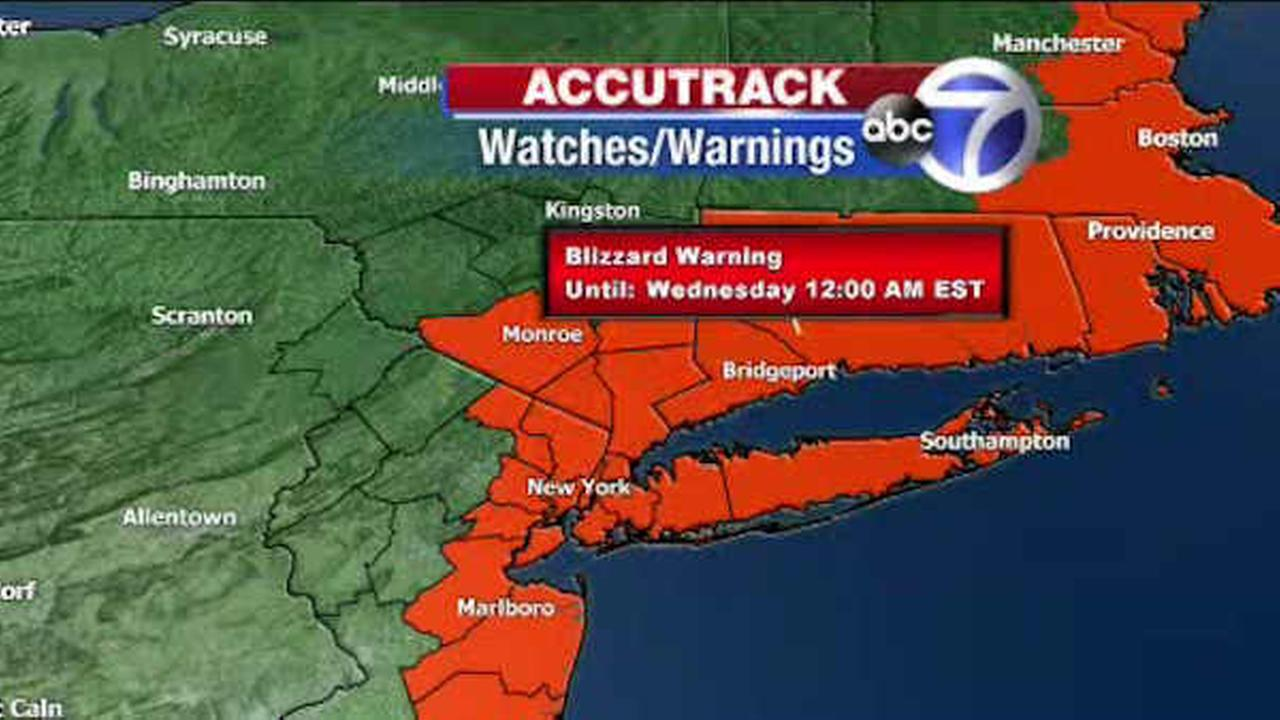 A blizzard warning is in effect for the New York area for Monday night into Tuesday.