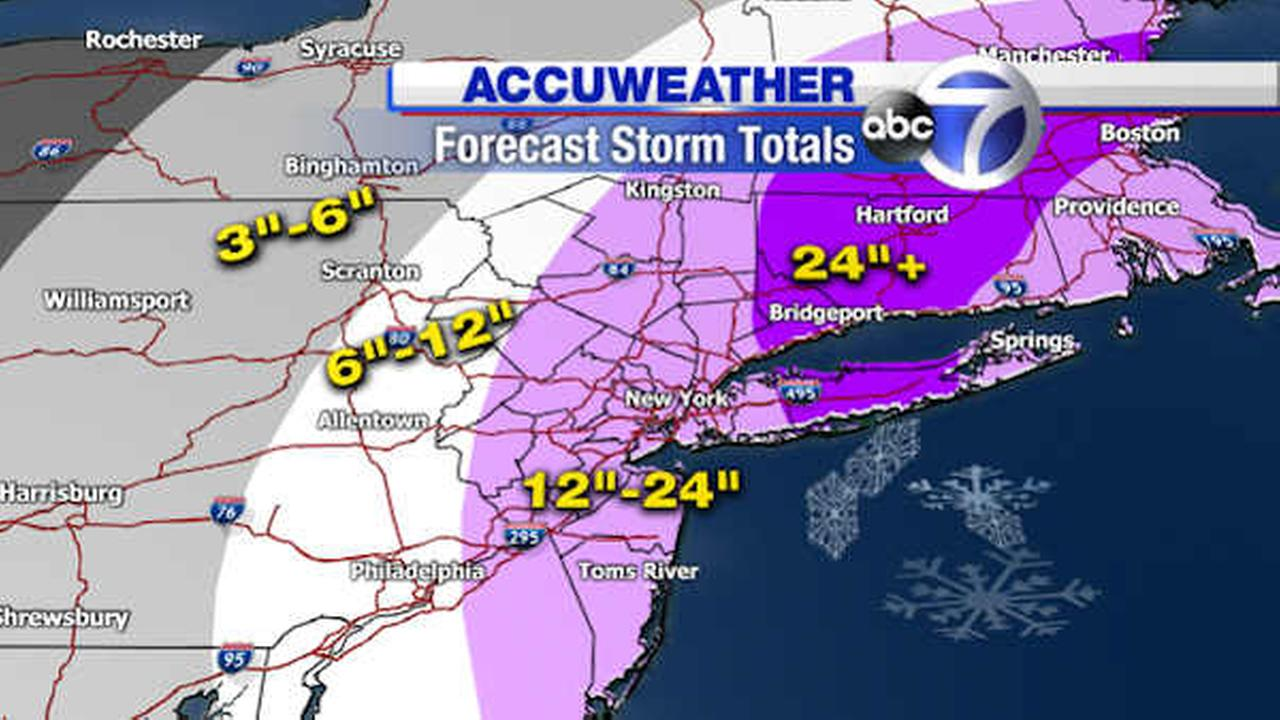 Projected snowfall totals for the blizzard Monday night into Tuesday.