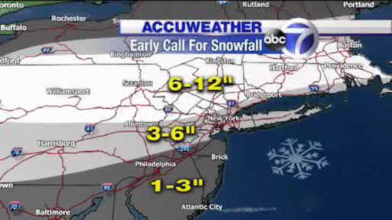 AccuWeather snowfall projections for a winter storm Sunday night into Monday.