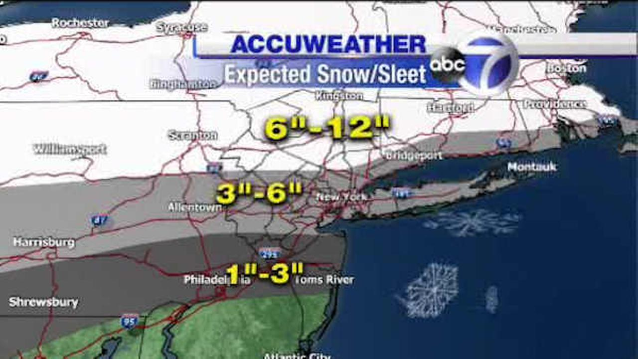 The AccuWeather forecast for a winter storm arriving Sunday night into Monday.