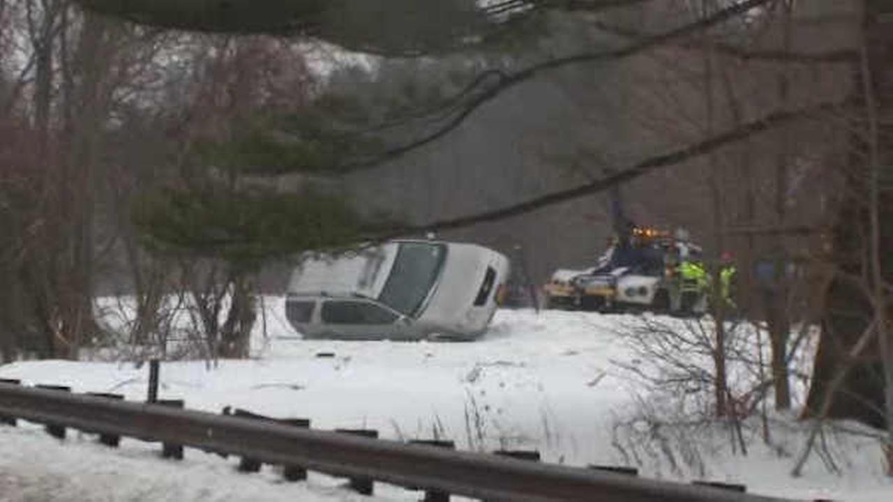 A car overturned on the Palisades Parkway in Alpine.