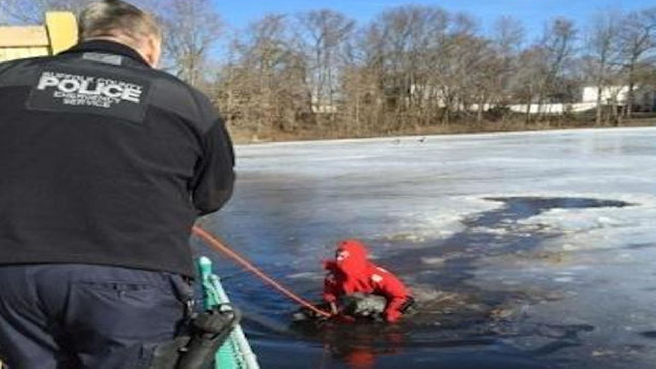 Suffolk County police officers save dog that fell through ice
