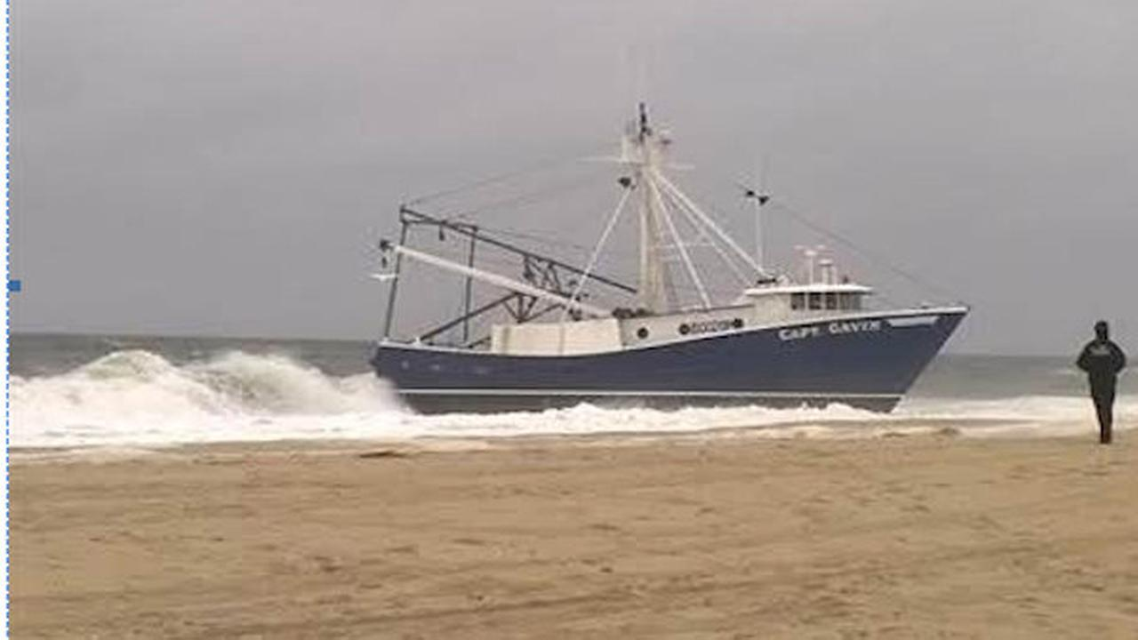fishing boat grounded on point pleasant beach