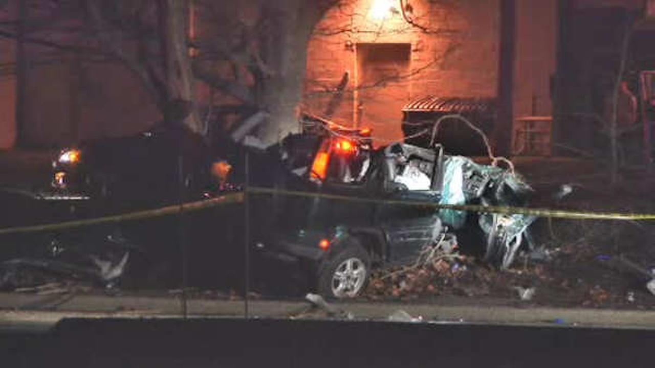 1 dead, 1 hurt when car slams into pole and tree on Long Island