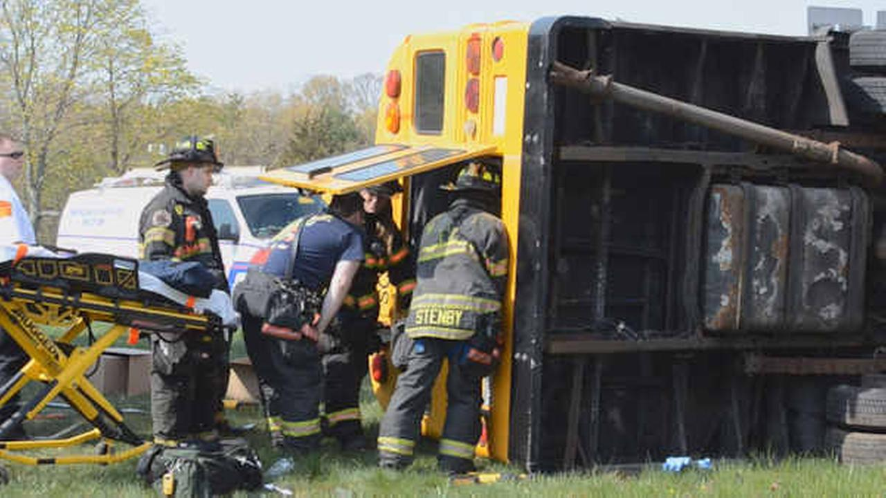 School bus collides with vehicle in Holtsville, Long Island; 2 injured