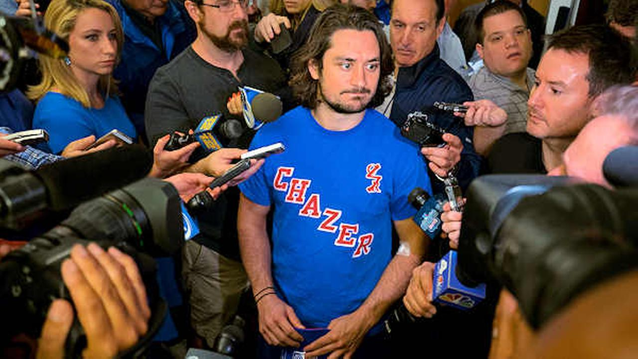 New York Rangers Mats Zuccarello speaks in the locker room at the teams Westchester training facility in Greenburgh, N.Y., Monday, June 1, 2015.