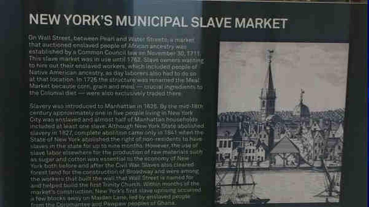 New plaque marks spot of historic Wall Street slave market downtown