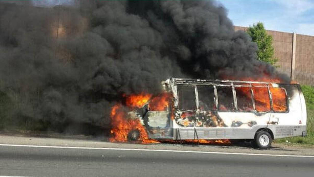 Bus catches fire on New Jersey Turnpike in Carteret