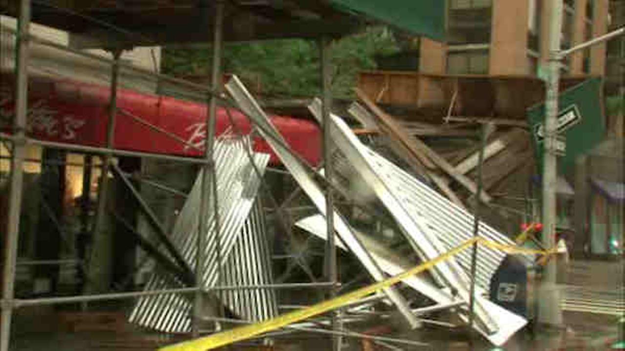 Car on Upper West Side crash sends scaffolding into street