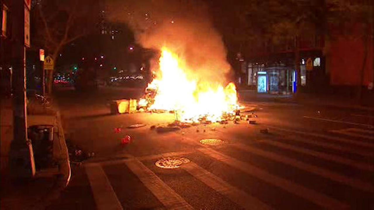 Firefighters put out huge trash fire in middle of 10th Ave in Chelsea