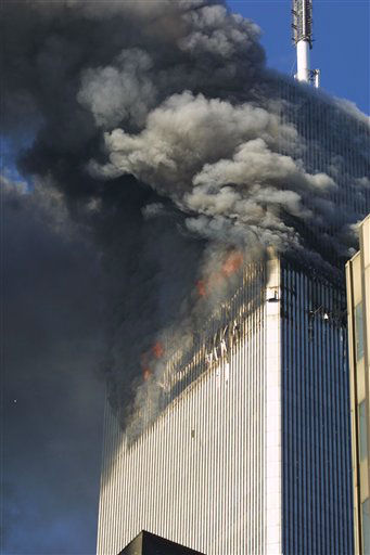 <div class='meta'><div class='origin-logo' data-origin='none'></div><span class='caption-text' data-credit='Photo/Diane Bondareff'>The north tower of the World Trade Center in flames on September 11, 2001 in New York City.</span></div>