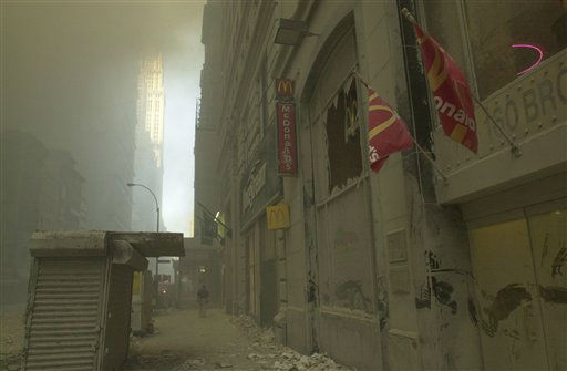 <div class='meta'><div class='origin-logo' data-origin='none'></div><span class='caption-text' data-credit='AP Photo/ Mark Lennihan'>A street near ground zero on the evening of September 11, 2001 after the September 11 terrorist attacks on the World Trade Center in New York City.</span></div>