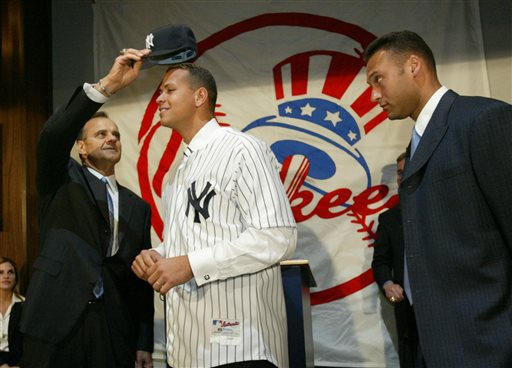 "<div class=""meta image-caption""><div class=""origin-logo origin-image ap""><span>AP</span></div><span class=""caption-text"">FILE - In this Feb. 17, 2004, file photo, New York Yankees skipper Joe Torre puts a Yankees cap on the newest member of the team Alex Rodriguez. (AP)</span></div>"