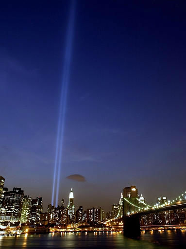 "<div class=""meta image-caption""><div class=""origin-logo origin-image none""><span>none</span></div><span class=""caption-text"">The ""Tribute in Light"" towers above lower Manhattan during the second anniversary of the Sept. 11 terrorists attacks Thursday, Sept. 11, 2003. (AP Photo/ DANIEL P. DERELLA)</span></div>"