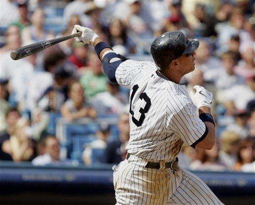 <div class='meta'><div class='origin-logo' data-origin='AP'></div><span class='caption-text' data-credit='ASSOCIATED PRESS'>New York Yankees' Alex Rodriguez follows through with a home run during seventh inning baseball action against the Detroit Tigers</span></div>