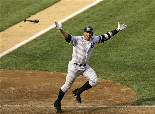 "<div class=""meta image-caption""><div class=""origin-logo origin-image ap""><span>AP</span></div><span class=""caption-text"">** FILE ** New York Yankee's Alex Rodriguez tosses his bat in the air after hitting a two-out walk-off three-run home run in the Yankees 8-6 win over the Cleveland Indians. (AP)</span></div>"