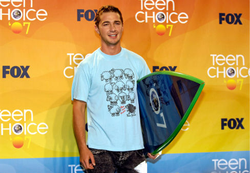<div class='meta'><div class='origin-logo' data-origin='none'></div><span class='caption-text' data-credit='AP Photo/ Chris Pizzello'>Shia LaBeouf poses with the Choice Movie Horror/Thriller award for &#34;Disturbia&#34; at the Teen Choice Awards on Aug. 26, 2007.</span></div>