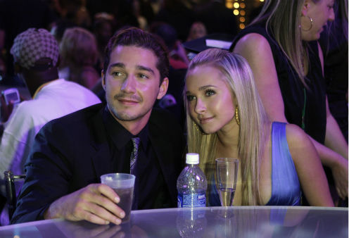 <div class='meta'><div class='origin-logo' data-origin='none'></div><span class='caption-text' data-credit='AP Photo/ Kevork Djansezian'>Shia LaBeouf, left, and Hayden Panettiere sit together during the MTV Video Music Awards at the Palms Hotel and Casino on Sept. 9, 2007.</span></div>