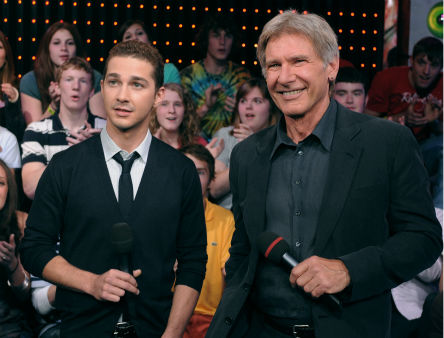 <div class='meta'><div class='origin-logo' data-origin='none'></div><span class='caption-text' data-credit='AP Photo/ Peter Kramer'>Harrison Ford, right, and Shia LaBeouf  on &#34;Total Request Live&#34; to promote &#34;Indiana Jones and The Kingdom of The Crystal Skull&#34; on May 20, 2008.</span></div>