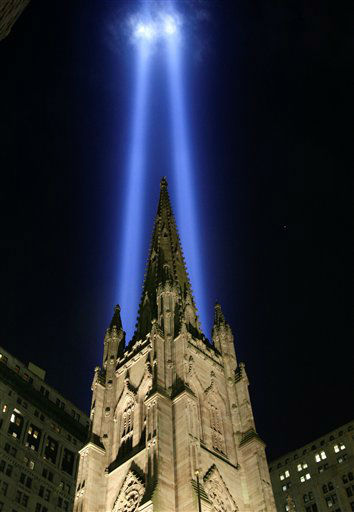 "<div class=""meta image-caption""><div class=""origin-logo origin-image none""><span>none</span></div><span class=""caption-text"">Twin towers of light from the Tribute in Light converge over the spire of Trinity Church in Lower Manhattan in New York, Thursday, Sept. 11, 2008.  (AP Photo/ Kathy Willens)</span></div>"