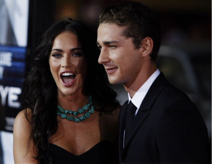<div class='meta'><div class='origin-logo' data-origin='none'></div><span class='caption-text' data-credit='AP Photo/ Matt Sayles'>Shia LaBeouf, right, and Megan Fox pose together at the premiere of &#34;Eagle Eye&#34; in Los Angeles on Tuesday, Sept. 16, 2008.</span></div>