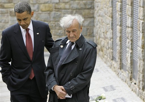 <div class='meta'><div class='origin-logo' data-origin='AP'></div><span class='caption-text' data-credit='(AP Photo/Markus Schreiber, Pool)'>US President Barack Obama and Buchenwald survivor Elie Wiesel, right, react at the memorial site for the 'Kleines Lager' inside Buchenwald concentration camp near Weimar, Germany</span></div>