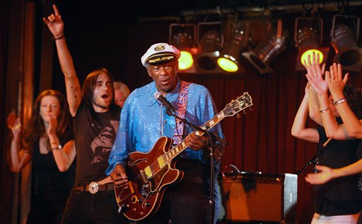 <div class='meta'><div class='origin-logo' data-origin='AP'></div><span class='caption-text' data-credit='AP'>Rock and Roll legend Chuck Berry, 83, plays the B.B. King Club, in New York,  September 12, 2009. Chuck lets audience members join him on the stage.  (AP Photo/Bruce Gilbert)</span></div>