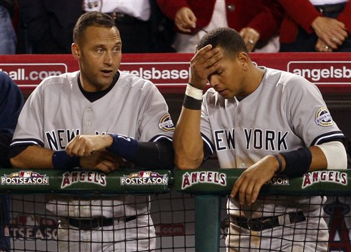 "<div class=""meta image-caption""><div class=""origin-logo origin-image ap""><span>AP</span></div><span class=""caption-text"">New York Yankees' Alex Rodriguez, right, and Derek Jeter react as they watch the ninth inning of Game 5 of the American League Championship baseball series. (ASSOCIATED PRESS)</span></div>"