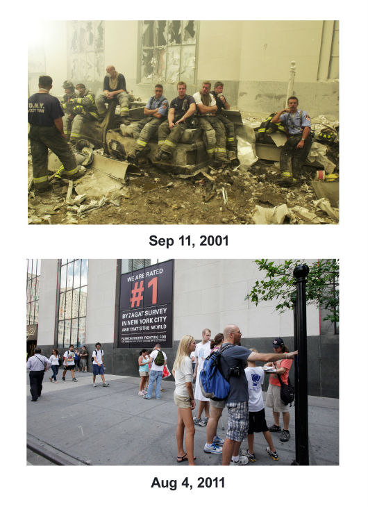 "<div class=""meta image-caption""><div class=""origin-logo origin-image none""><span>none</span></div><span class=""caption-text"">(Top) Emergency workers at ground zero. (Below) Pedestrians walk along Church St. past Century 21 clothing store in lower Manhattan, Aug. 4, 2011, in New York.  (AP Photo/ Mark Lennihan)</span></div>"