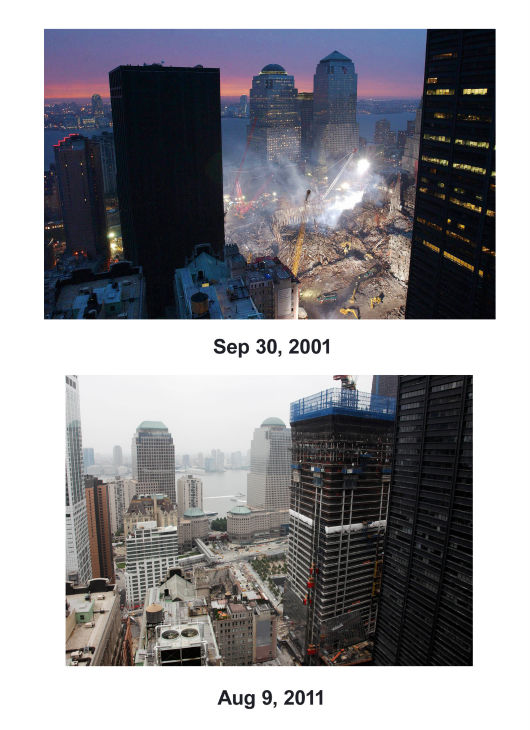 "<div class=""meta image-caption""><div class=""origin-logo origin-image none""><span>none</span></div><span class=""caption-text"">(Top) The World Trade Center destruction is shown in the aftermath of the Sept. 11 attacks. (Below) Four World Trade Center is under construction in lower Manhattan, Aug. 9, 2011. (AP Photo/ Mark Lennihan)</span></div>"