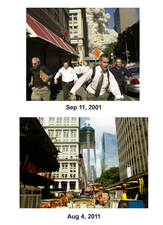 "<div class=""meta image-caption""><div class=""origin-logo origin-image none""><span>none</span></div><span class=""caption-text"">(Top) Pedestrians flee the area of the World Trade Center as the south tower collapses. (Below) One World Trade Center is under construction in lower Manhattan, Aug. 4, 2011, (AP Photo/ Mark Lennihan)</span></div>"