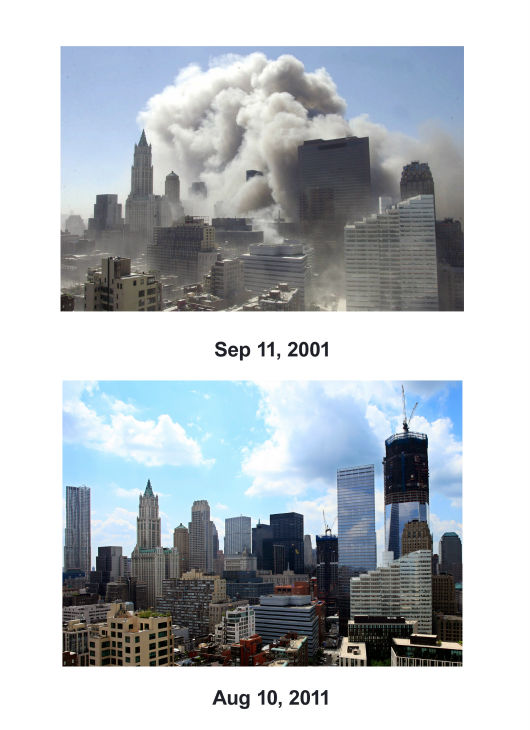 "<div class=""meta image-caption""><div class=""origin-logo origin-image none""><span>none</span></div><span class=""caption-text"">(Top) Smoke rises into the sky following the collapse of World Trade Center Towers Tuesday, Sept. 11, 2001 in New York.  (Below) One World Trade Center rises in 2011. (AP Photo/ Mark Lennihan)</span></div>"