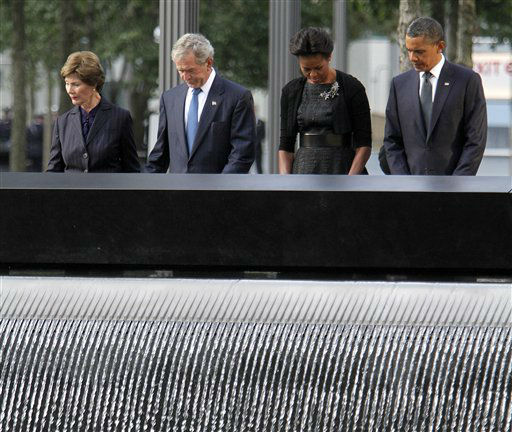 """<div class=""""meta image-caption""""><div class=""""origin-logo origin-image none""""><span>none</span></div><span class=""""caption-text"""">President Barack Obama, first lady Michelle Obama, former President George W. Bush and former first lady Laura Bush observe a moment of silence in 2011. (AP Photo/ Mary Altaffer)</span></div>"""