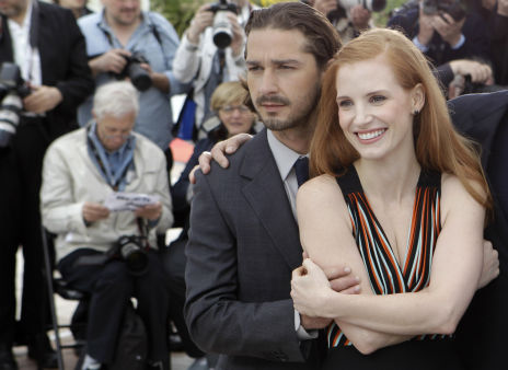 Actors Jessica Chastain, right and Shia LaBeouf at the 65th international film festival, in Cannes, southern France, Saturday, May 19, 2012. <span class=meta>AP Photo/ Lionel Cironneau</span>