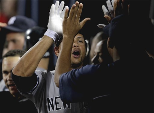"<div class=""meta image-caption""><div class=""origin-logo origin-image ap""><span>AP</span></div><span class=""caption-text"">New York Yankees' Alex Rodriguez, left, gets a high-five from teammate Ivan Nova after after hitting his 23rd career grand slam matching Yankees Hall of Famer Lou Gehrig. (AP)</span></div>"