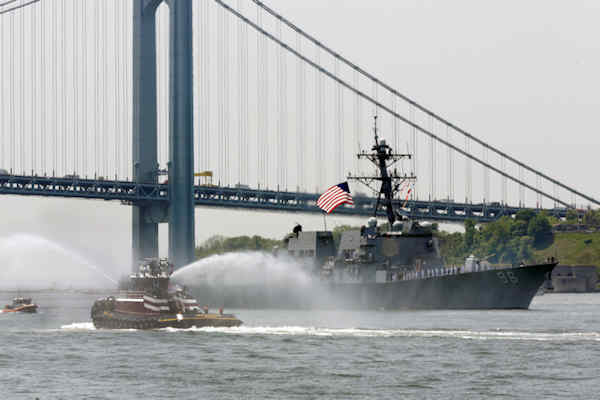 "<div class=""meta image-caption""><div class=""origin-logo origin-image none""><span>none</span></div><span class=""caption-text"">The Arleigh Burke-class guided missile destroyer USS Bainbridge, from Norfolk, Va., sails under the Verrazano-Narrows Bridge in New York, Wednesday, May 25, 2016. (AP Photo/Richard Drew)</span></div>"